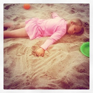 asleep on the beach