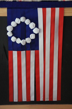 American flag out of ribbon