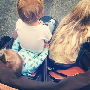 3 kids in a double stroller