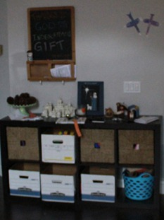 DIY bankers box storage system before