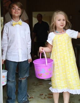 yellow easter dress and bow tie